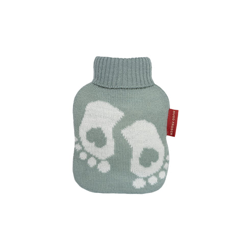 0.2 Litre Luxury Mini Hot Water Bottle with Baby Feet Pastel Green Fine Knitted Cover (rubberless)