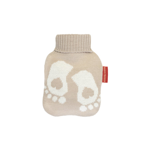 0.2 Litre Luxury Mini Hot Water Bottle with Baby Feet Pastel Brown Fine Knitted Cover (rubberless)