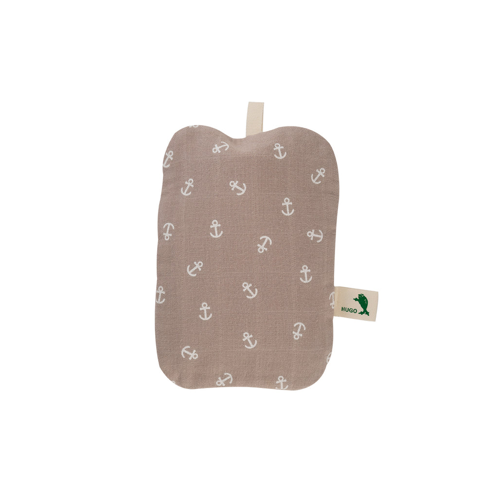 0.2 Litre Luxury Mini Hot Water Bottle with Pastel Brown Anchor Organic Cotton Cover (rubberless)