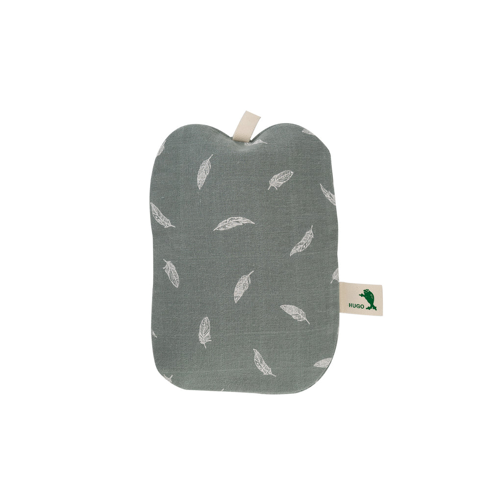 0.2 Litre Luxury Mini Hot Water Bottle with Pastel Green Feather Organic Cotton Cover (rubberless)
