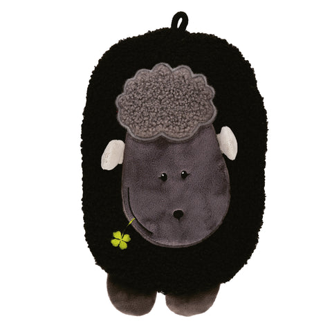 "0.8 litre ""Eco-Sustainable"" Hot Water Bottle with Black Lamb Fluffy Cover (rubberless)"