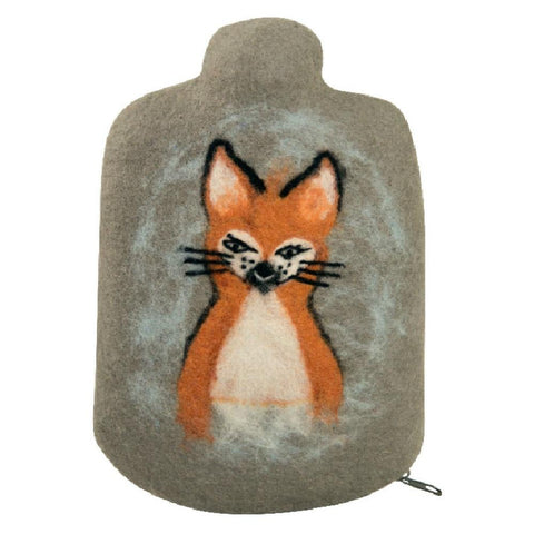 "0.8 litre ""Eco-Sustainable"" Hot Water Bottle with Felt Merino Wool Fox Cover (rubberless)"