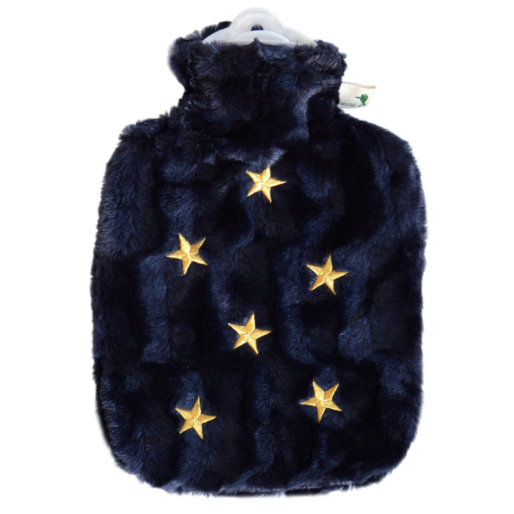 1.8 Litre Hot Water Bottle with Midnight Blue With Star Luxury Faux Fur Cover (rubberless)