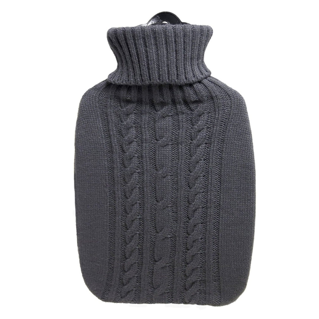 1.8 Litre Hot Water Bottle with Knitted Dark Grey Cover (rubberless)