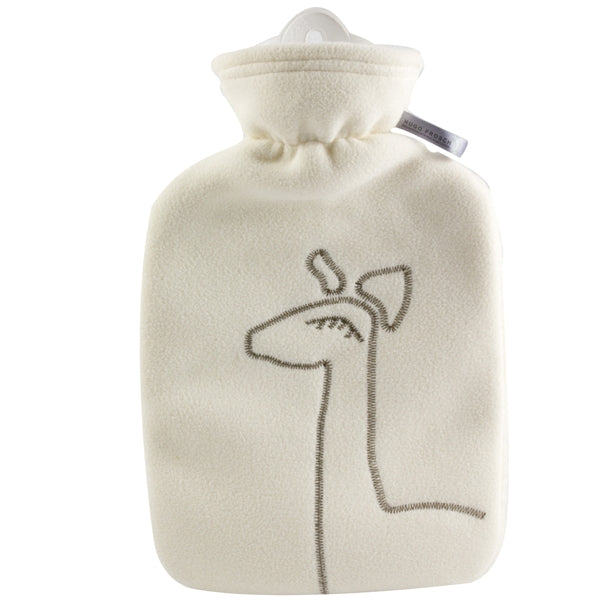1.8 Litre Classic Hot Water Bottle with Giraffe White Fleece Cover (rubberless)