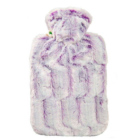 1.8 Litre Hot Water Bottle with Lilac and Silver Luxury Faux Fur Cover (rubberless)