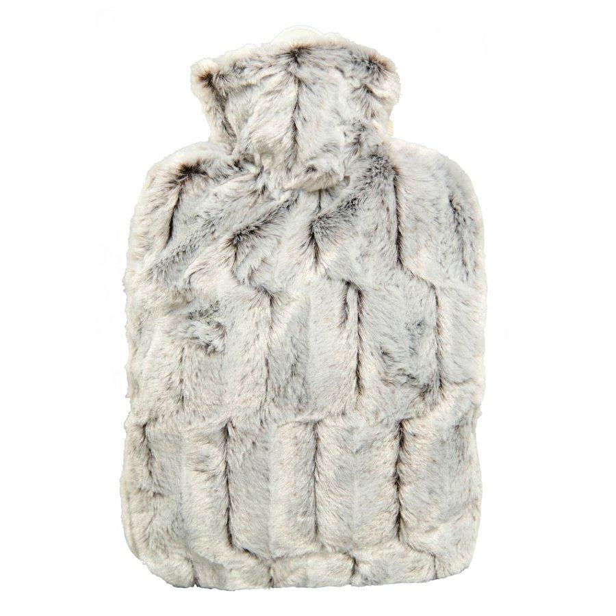 1.8 Litre Hot Water Bottle with Brown and Silver Luxury Faux Fur Cover (rubberless)
