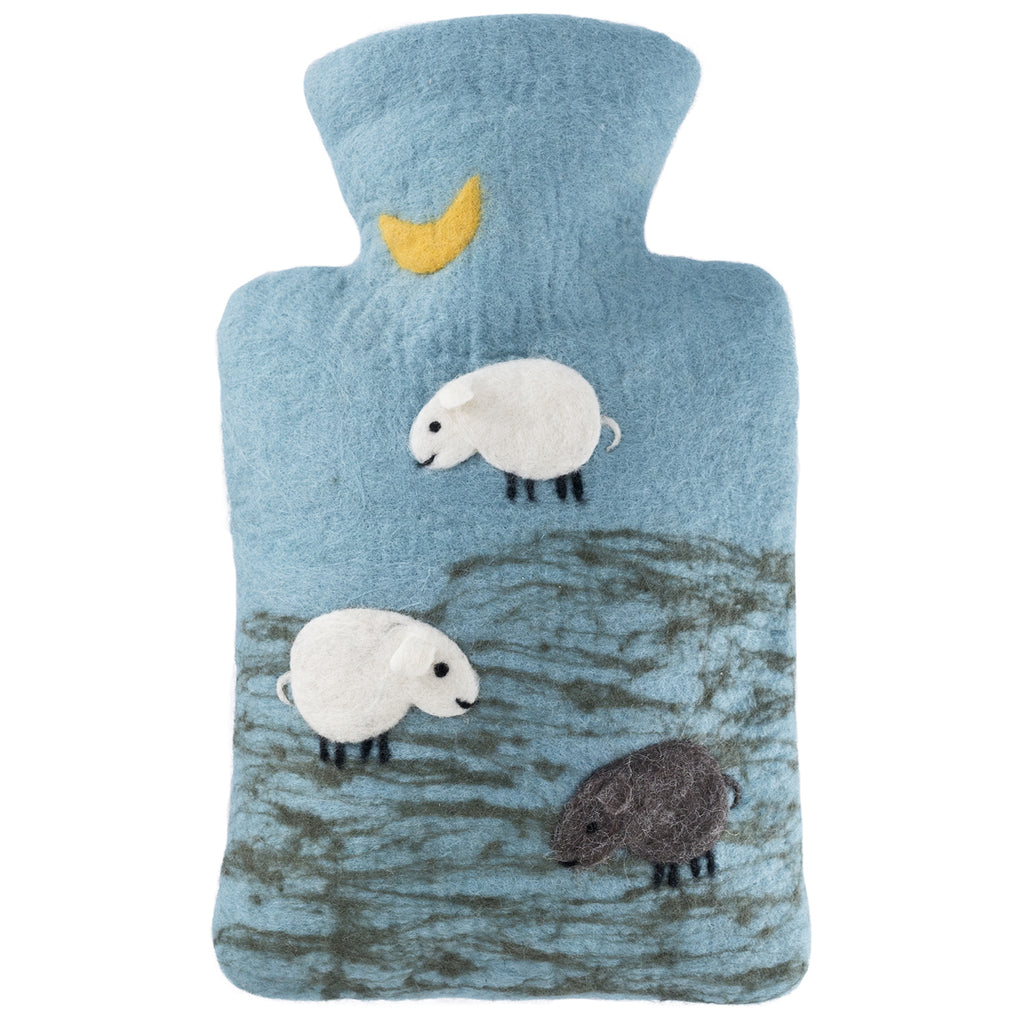 1.8 Litre Luxury Hot Water Bottle with Felt Merino Wool Sheep Cover (rubberless)