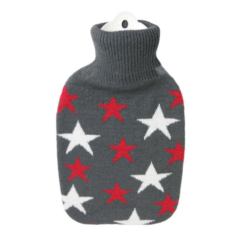 1.8 Litre Hot Water Bottle with Knitted Grey and Red and White Star Cover (rubberless)