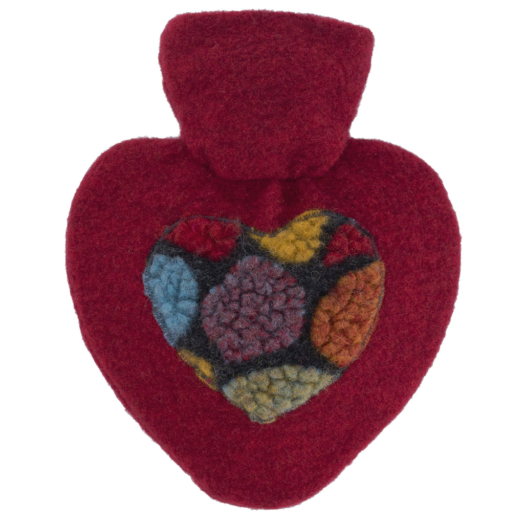 1 Litre Heart Shaped Hot Water Bottle with Red Knitted Pom Pom Felt Cover (rubberless)