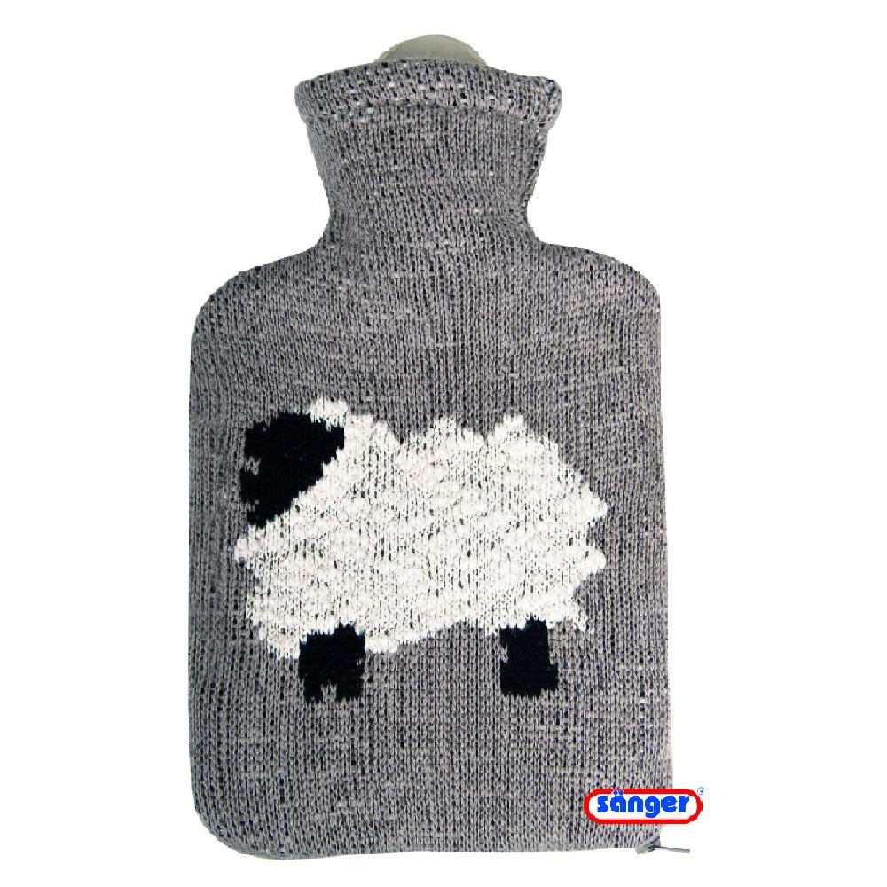 0.8 Litre Sanger Hot Water Bottle with Knitted Sheep Cover