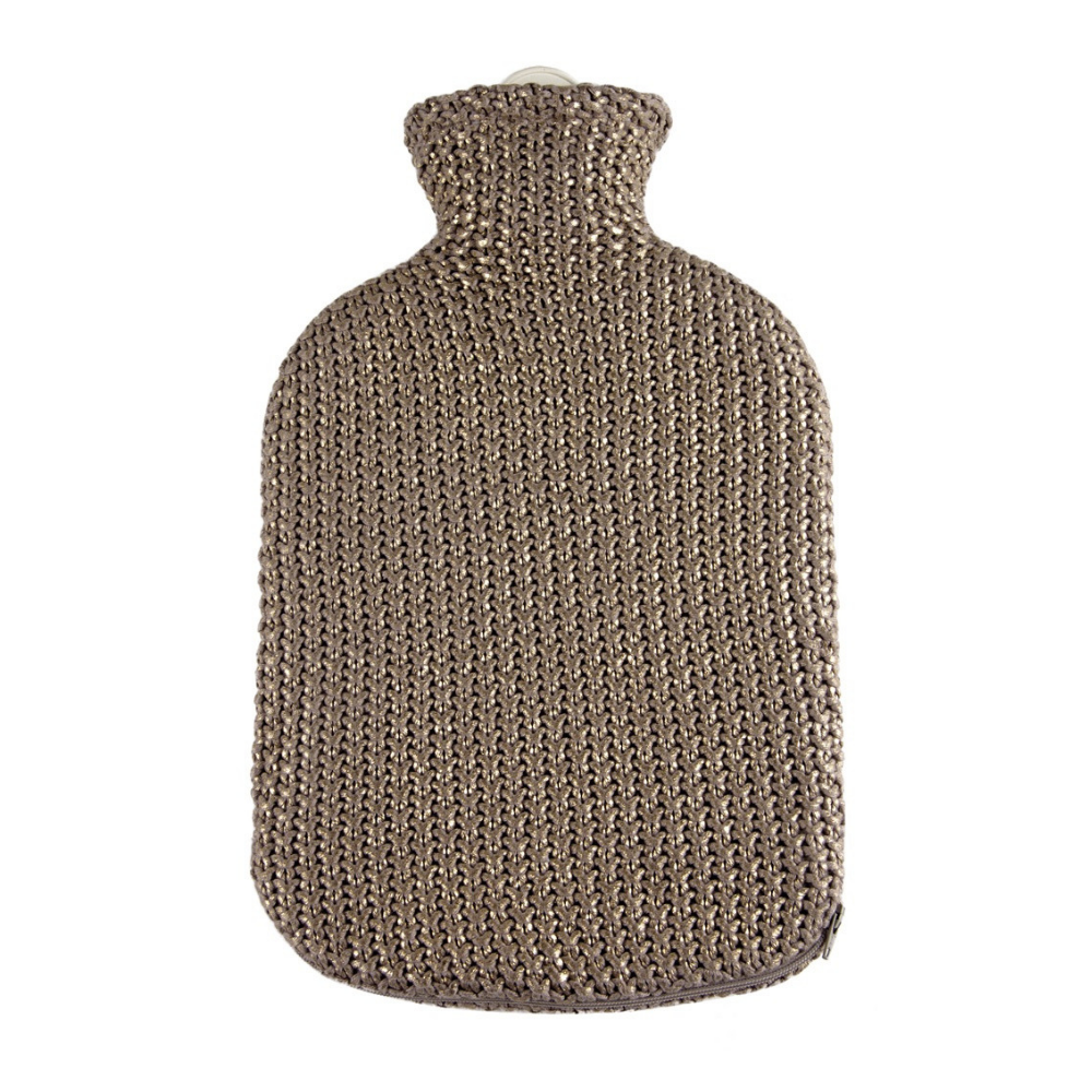 2 Litre Sanger Hot Water Bottle with Knitted Metallic Gold Cotton Cover