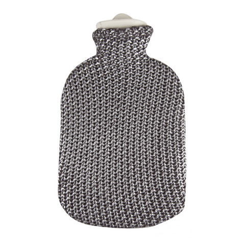 2 Litre Sanger Hot Water Bottle with Knitted Metallic Silver Cotton Cover