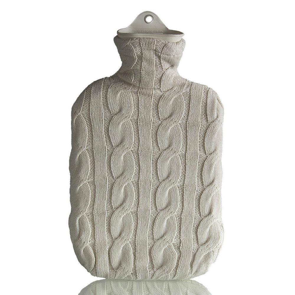 2 Litre Sanger Hot Water Bottle with Cream Cable Knitted Cover