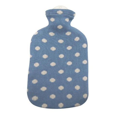 2 Litre Sanger Hot Water Bottle with Knitted Light Blue Cotton Cover