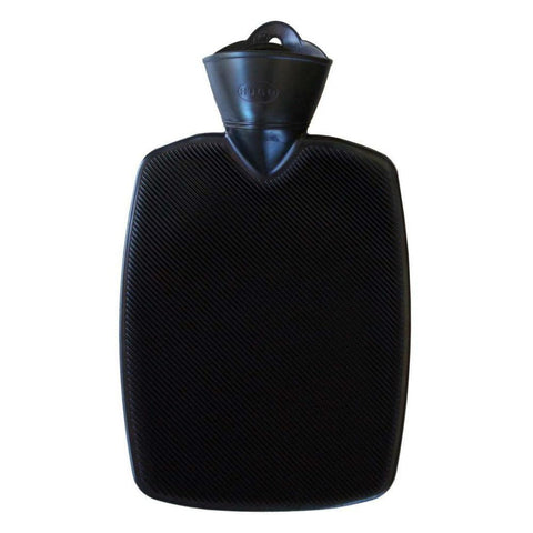 1.8 Litre Part Ribbed Black Hot Water Bottle (rubberless)
