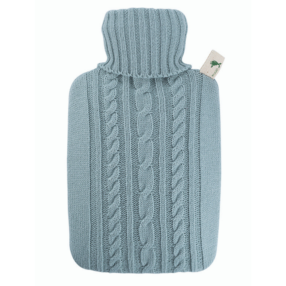 1.8 Litre Hot Water Bottle with Knitted Pastel Blue Cover (rubberless)