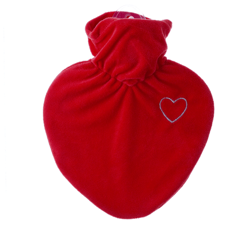 1 Litre Heart Shaped Hot Water Bottle with Velvet Heart Cover (rubberless) - Hotwaterbottleshop.co.uk