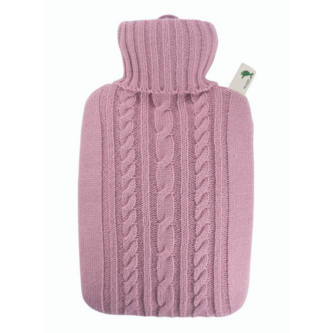 1.8 Litre Hot Water Bottle with Knitted Pastel Pink Cover (rubberless)
