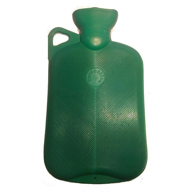2 Litre Single Ribbed Hot Water Bottle with Handle (Green)