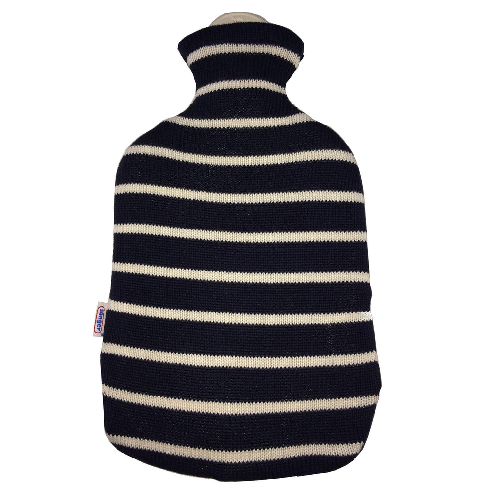 2 Litre Sanger Hot Water Bottle with Knitted Blue Cotton Cover - Hotwaterbottleshop.co.uk
