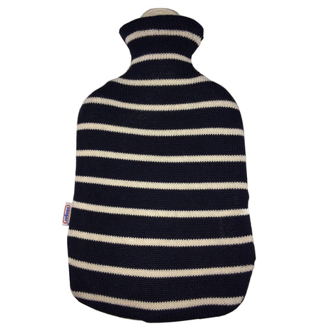 2 Litre Sanger Hot Water Bottle with Knitted Blue Cotton Cover