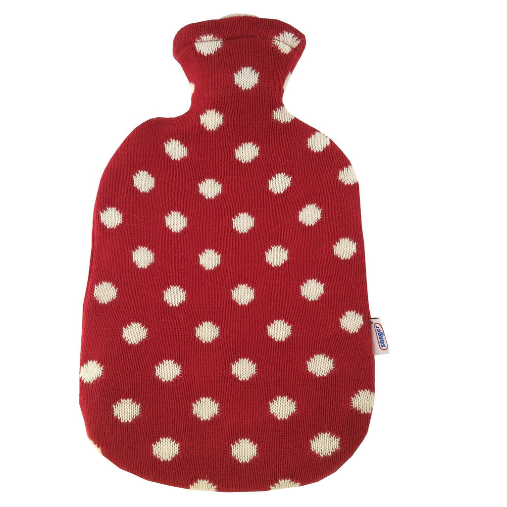 2 Litre Sanger Hot Water Bottle with Knitted Red Cotton Cover - Hotwaterbottleshop.co.uk