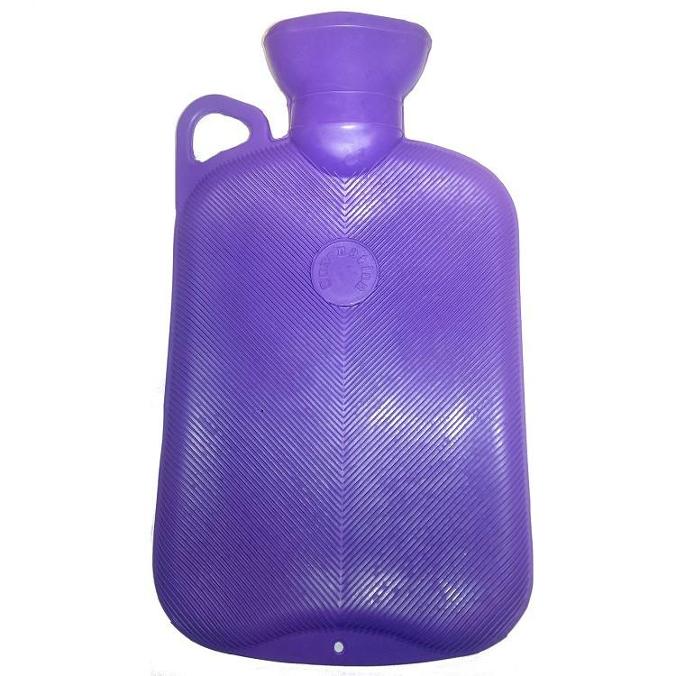2 Litre Single Rib Hot Water Bottle with Handle (Purple)