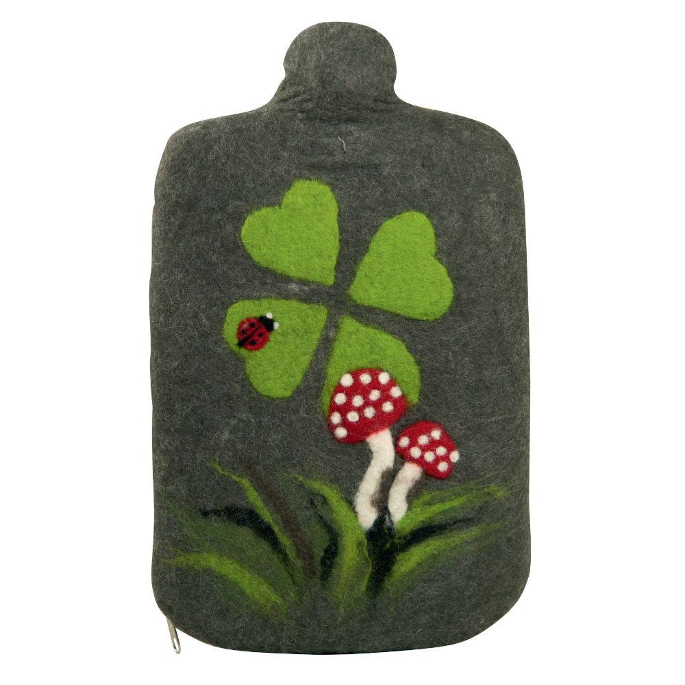 "2 litre ""Eco-Sustainable"" Hot Water Bottle with Felt Merino Wool Mushroom Cover (rubberless)"