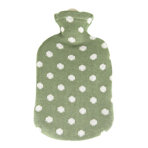 2 Litre Sanger Hot Water Bottle with Knitted Green Cotton Cover