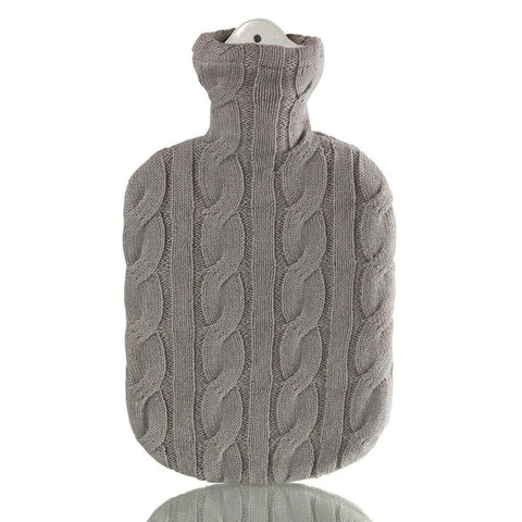2 Litre Sanger Hot Water Bottle with Stone Grey Cable Knitted Cover