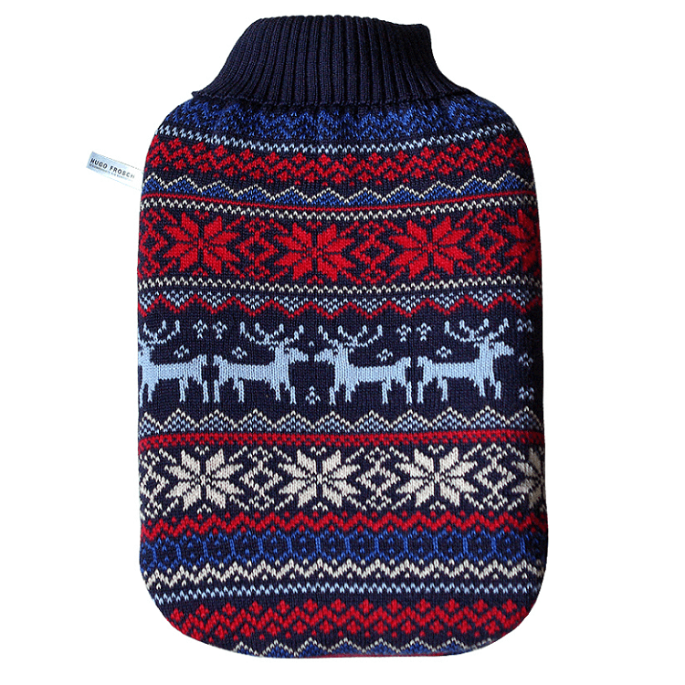 "2 litre ""Eco-Sustainable"" Hot Water Bottle with Norwegian Cover (rubberless)"