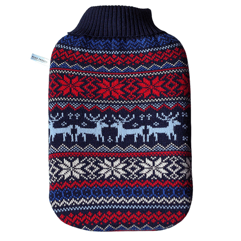 "2 litre ""Eco-Sustainable"" Hot Water Bottle with Norwegian Cover (rubberless) - Hotwaterbottleshop.co.uk"