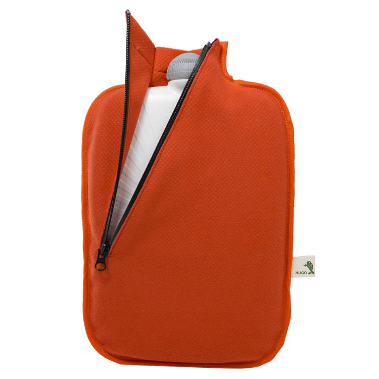 "2 litre ""Eco-Sustainable"" Hot Water Bottle with Orange Zip Cover (rubberless)"