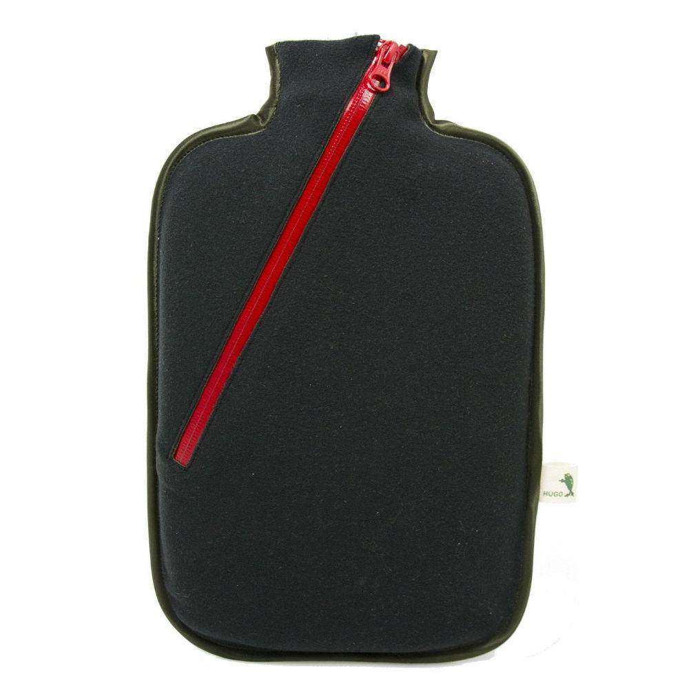"2 litre ""Eco-Sustainable"" Hot Water Bottle with Black Zip Cover (rubberless)"