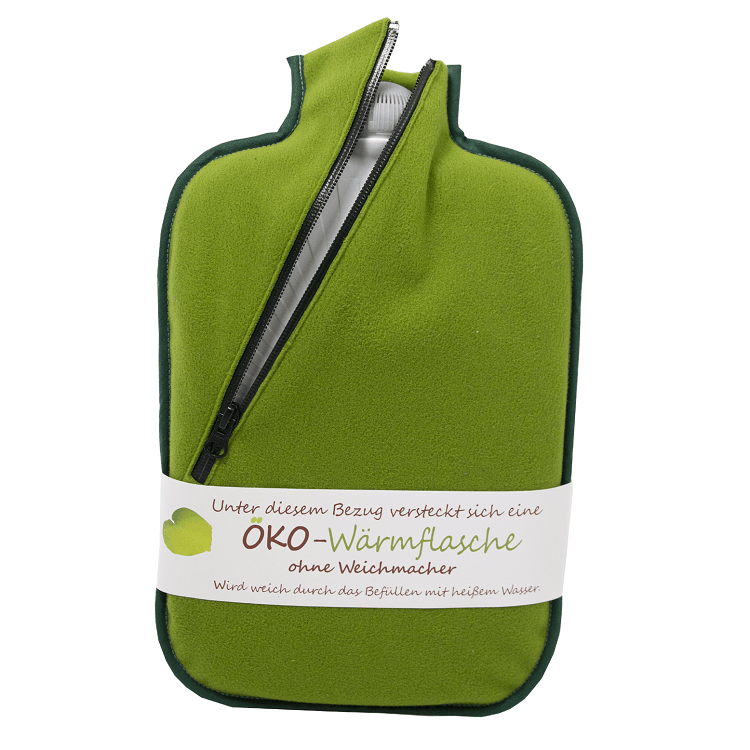 "2 litre ""Eco-Sustainable"" Hot Water Bottle with Green Zip Cover (rubberless)"