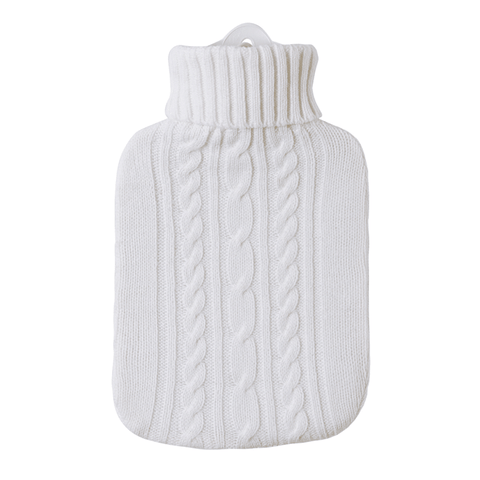 1.8 Litre Hot Water Bottle with Knitted White Cover (rubberless) - Hotwaterbottleshop.co.uk