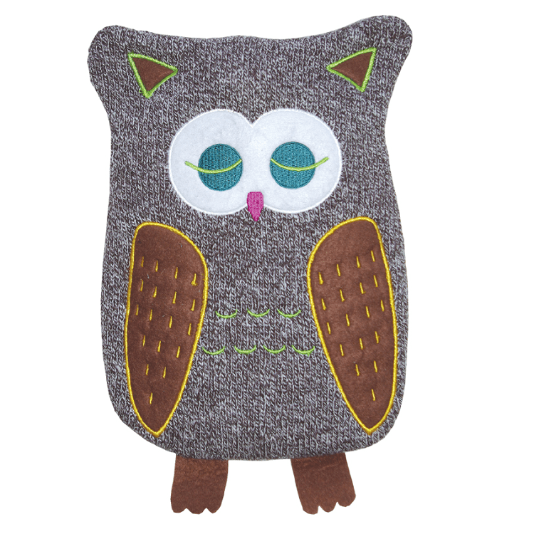 "0.8 litre ""Eco-Sustainable"" Hot Water Bottle with Owl Cover (rubberless) - Hotwaterbottleshop.co.uk"