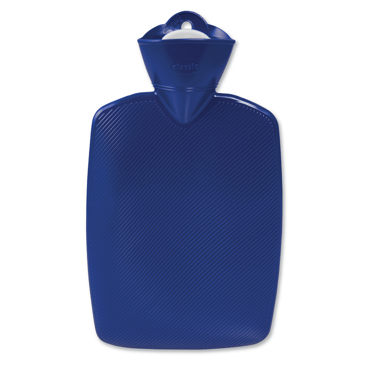 1.8 Litre Part Ribbed Blue Hot Water Bottle (rubberless) - Hotwaterbottleshop.co.uk