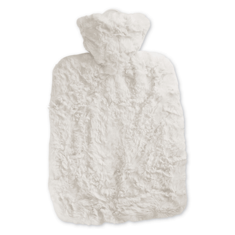 1.8 Litre Hot Water Bottle with Cream Luxury Faux Fur Cover (rubberless)