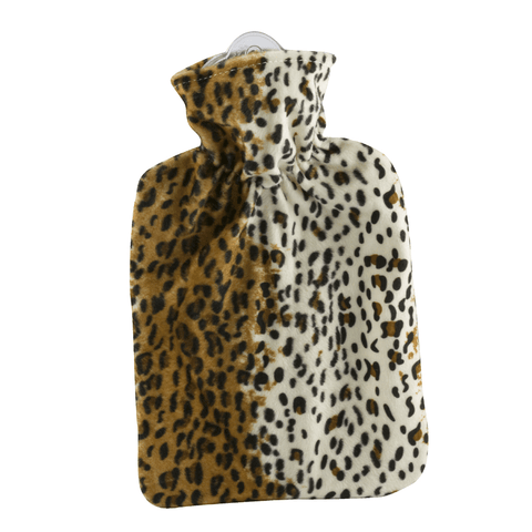 1.8 Litre Classic Hot Water Bottle with Leopard Pattern Cover (rubberless)