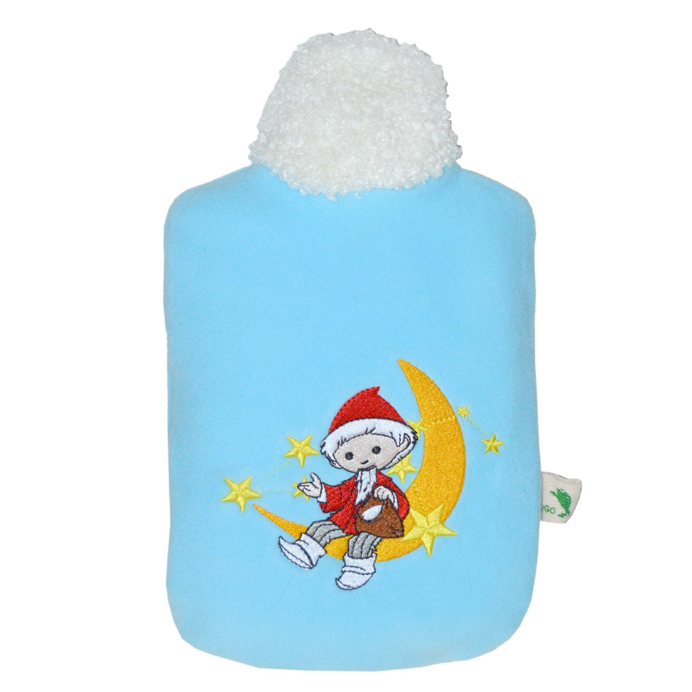 "0.8 litre ""Eco-Sustainable"" Hot Water Bottle with Sandman in the Moon Soft Fleece Blue Cover (rubberless)"