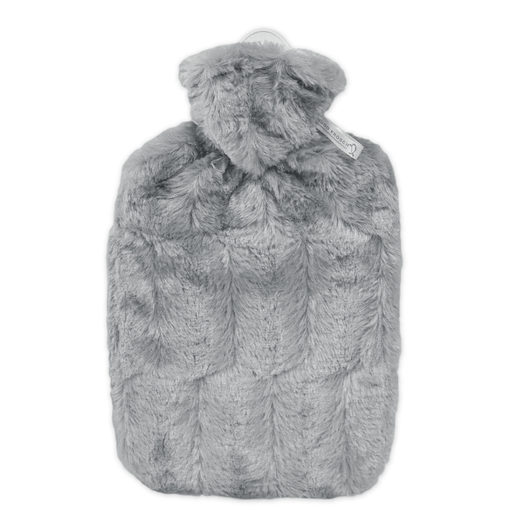 1.8 Litre Hot Water Bottle with Grey Luxury Faux Fur Cover (rubberless)