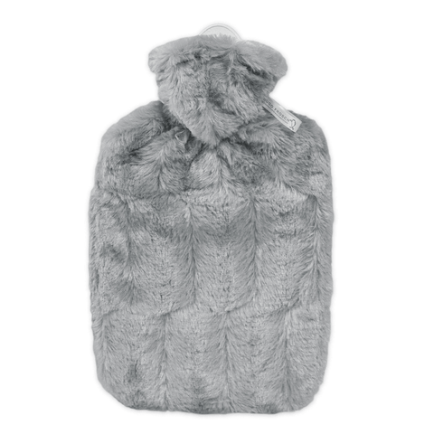 1.8 Litre Hot Water Bottle with Grey Luxury Faux Fur Cover (rubberless) - Hotwaterbottleshop.co.uk