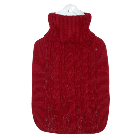 1.8 Litre Hot Water Bottle with Knitted Red Cover (rubberless) - Hotwaterbottleshop.co.uk