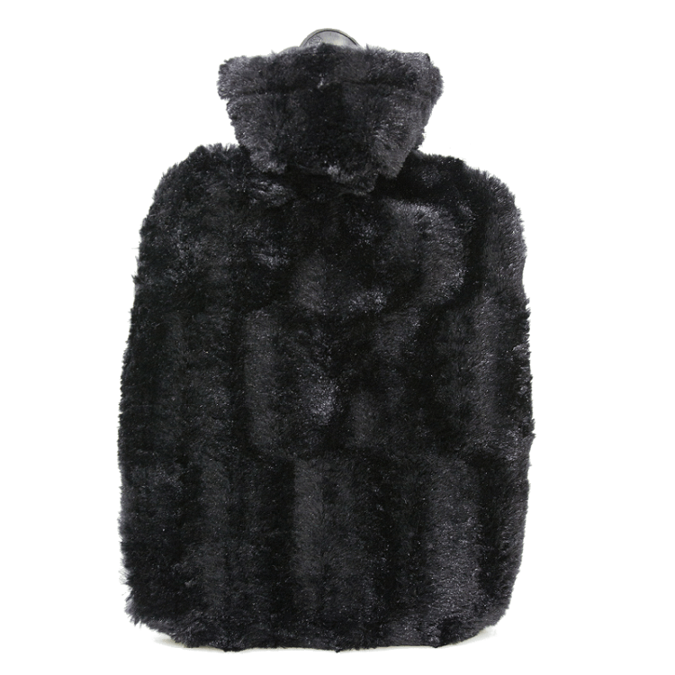 1.8 Litre Hot Water Bottle with Black Luxury Faux Fur Cover (rubberless)