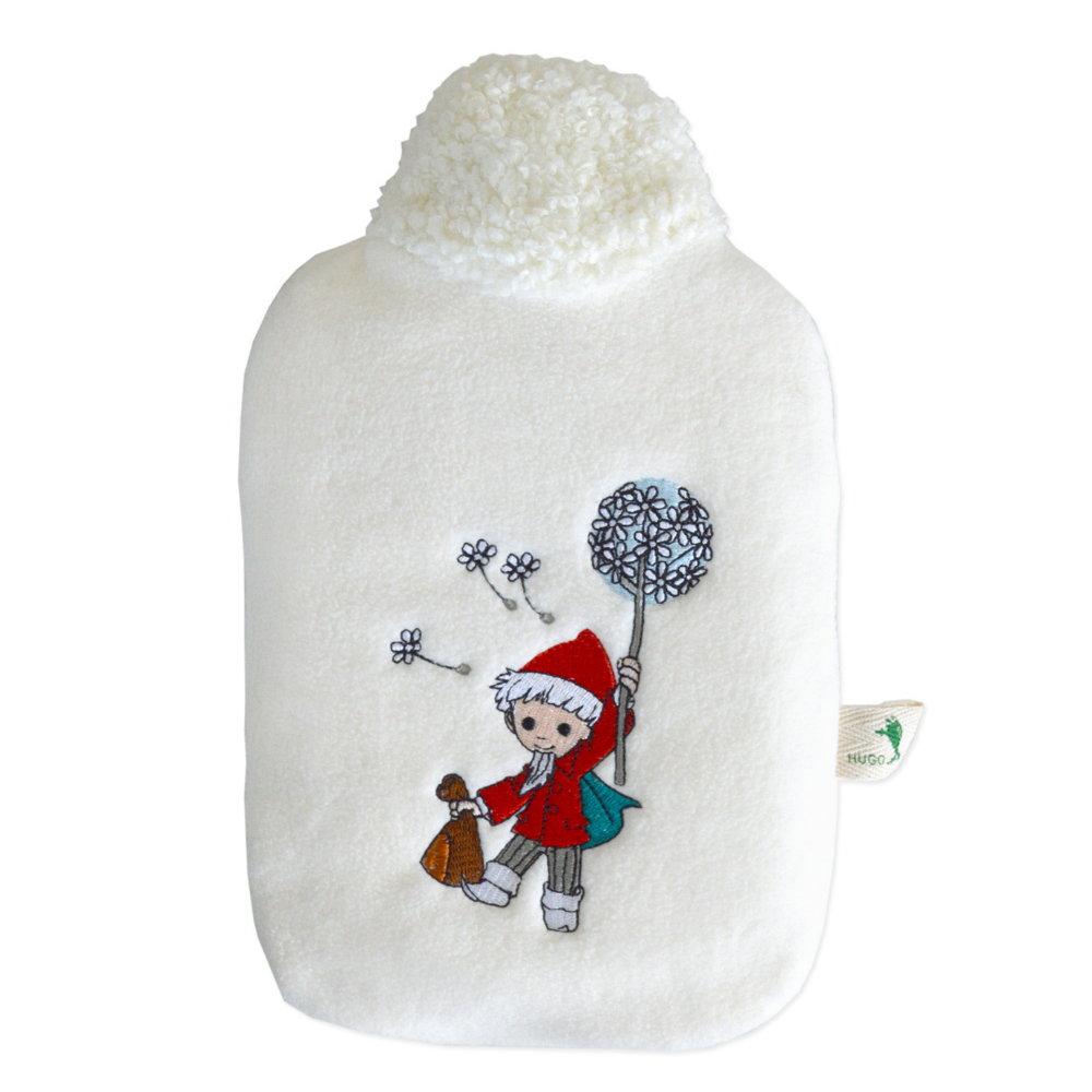 "0.8 litre ""Eco-Sustainable"" Hot Water Bottle with Sandman with Dandelion Soft Fleece White Cover (rubberless)"