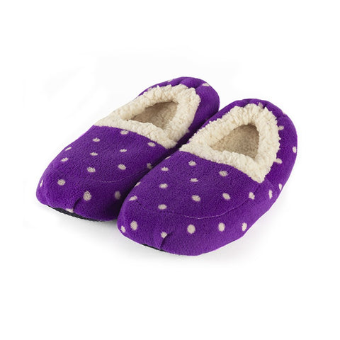 Luxury Heatable Polka Purple Cozy Body Slippers - Hotwaterbottleshop.co.uk