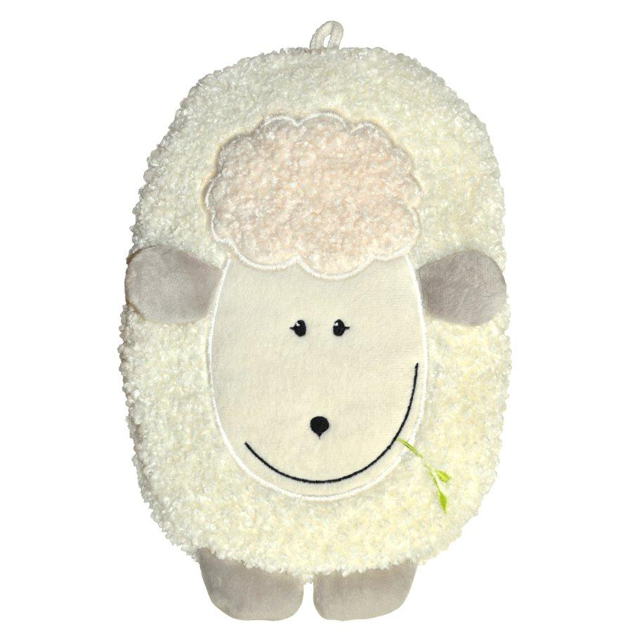"0.8 litre ""Eco-Sustainable"" Hot Water Bottle with Lamb Fluffy Cover (rubberless)"