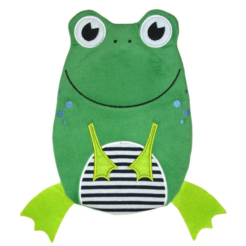 "0.8 litre ""Eco-Sustainable"" Hot Water Bottle with Frog Cover (rubberless)"